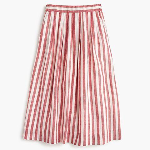 J.Crew National Stripes Day: women's midi skirt in striped linen.