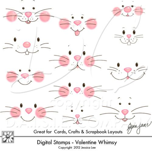 Easter Bunny Faces Clip Art 300 dpi PNG Files Instant Download or on CD | eBay