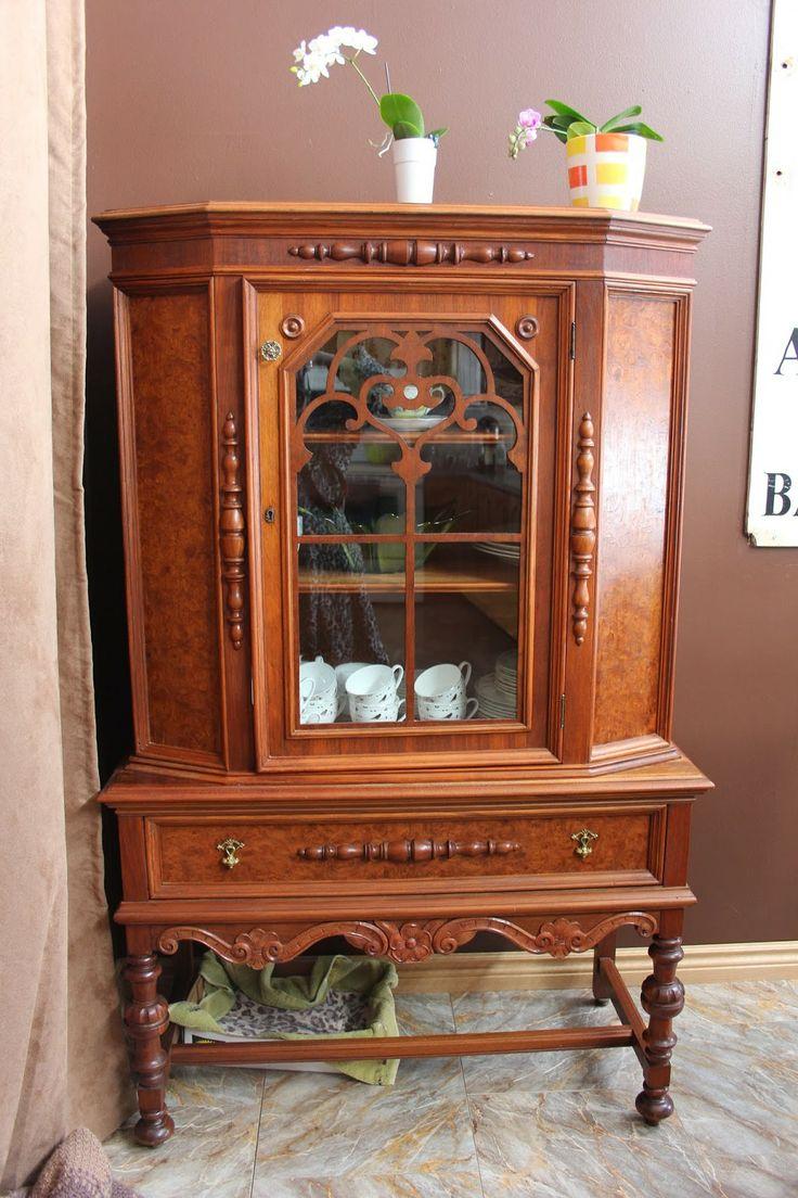 our wood home antique china cabinet vintage china. Black Bedroom Furniture Sets. Home Design Ideas