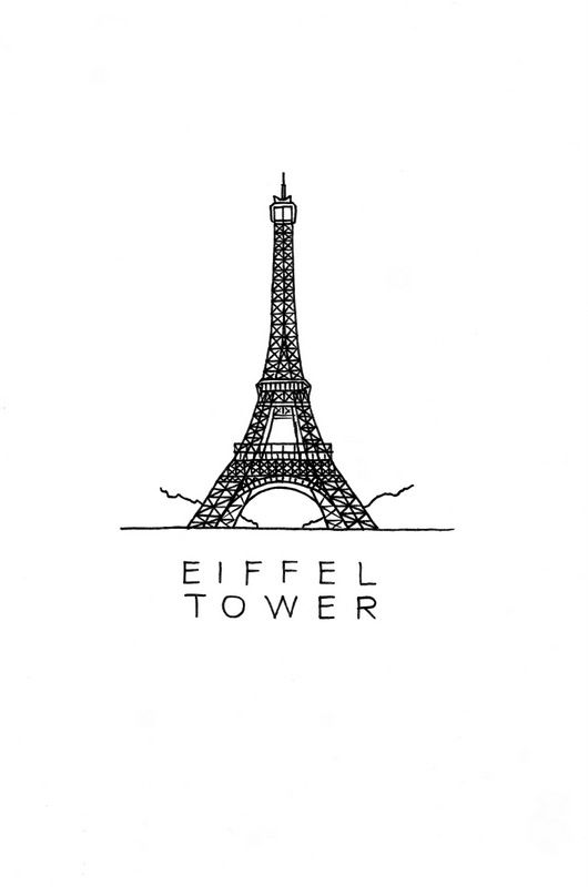 The Eiffel Tower Art Print. What a lovely building! Now on an art print for download. #DrawTheGlobe #poster #design #drawing #art #minimalist #paris #France #architecture #ink #black_and_white #buildings #etsy