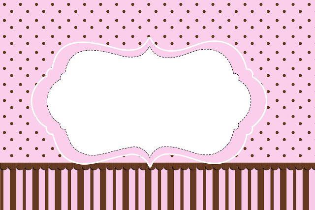 Poá e Listras Rosa e Marrom – Kit Completo com molduras para convites, rótulos para guloseimas, lembrancinhas e imagens! |Fazendo a Nossa Fe...