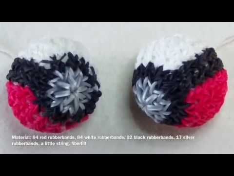 Rainbow Loom 3D Pokeball with english subtitle - Lachtaeubchen Loom - YouTube