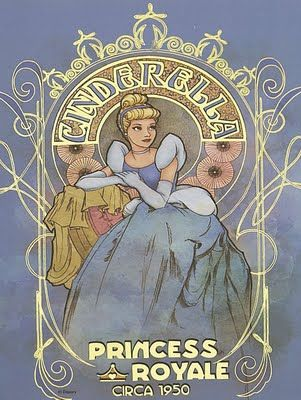 Cinderella, Princess Royale Poster. Art Nouveau style. #Disney