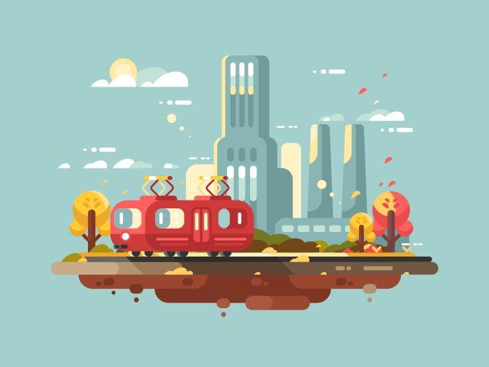 Retro+tram+design+flat.+Public+city+passenger+transport.+Vector+illustration+Vector+files,+fully+editable.