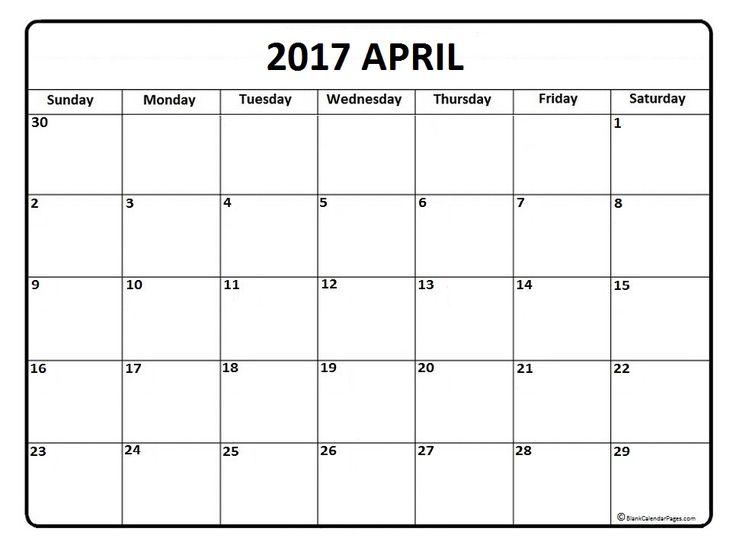 April calendar 2017 printable and free blank calendar