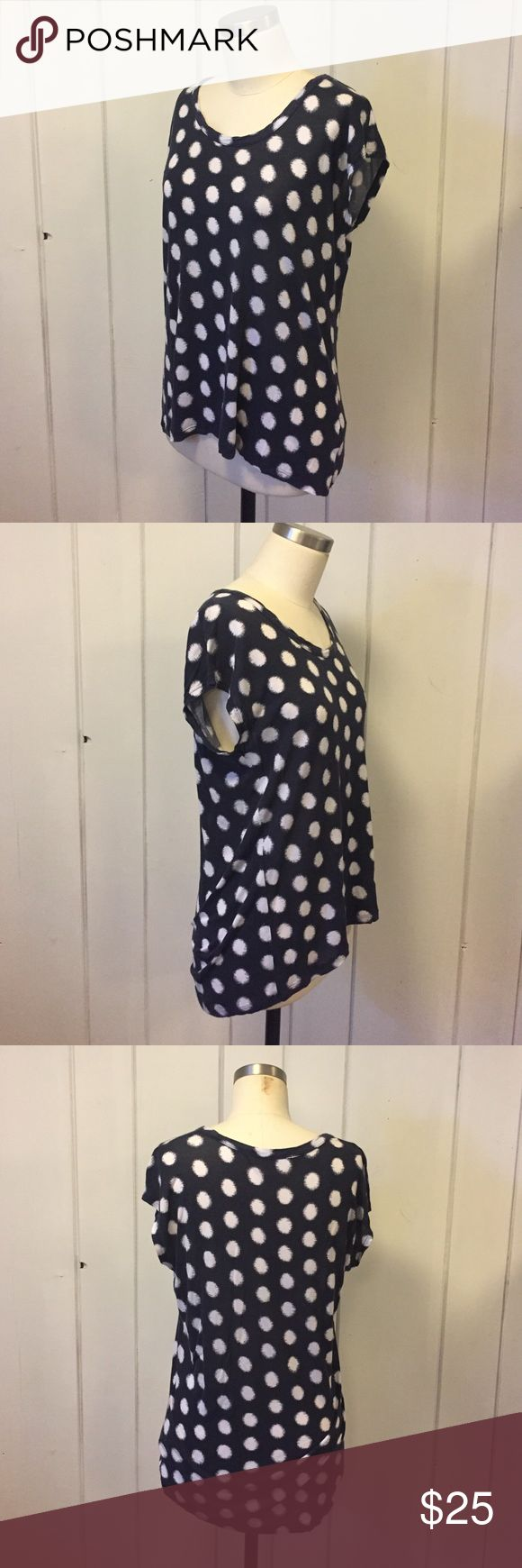 Michael Kors Blue White Polkadot Tshirt XS A sweet Tshirt by Michael Kors! Blue with white ikat style dots, lightly worn, has a faded look but it gives it character! Fits true to size, no rips tears holes or stains. MICHAEL Michael Kors Tops Tees - Short Sleeve