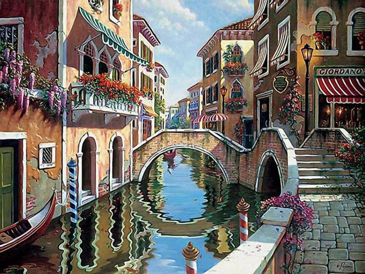 Rendezvous in Venice by Bob Pejman - Italian Oil Painting of Venetian Canals - via www.creatived.com