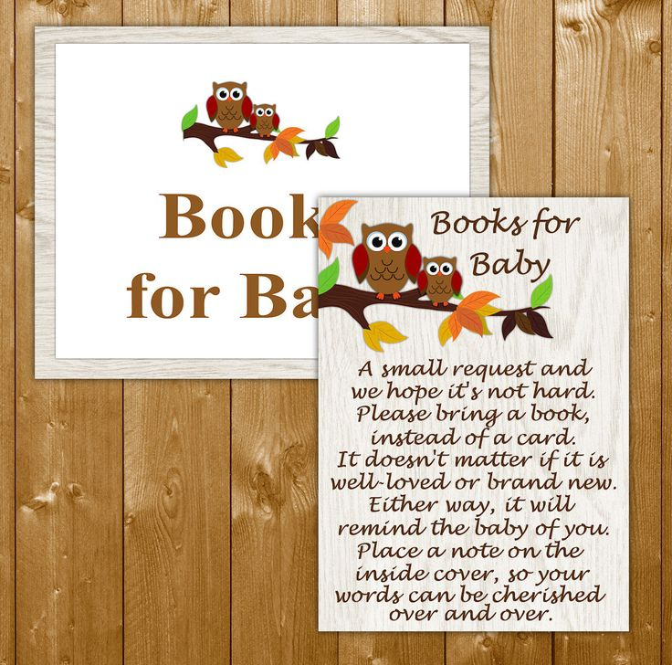 Fall Owl Baby Shower Books for Baby Invitation Insert, Autumn Baby Shower Invitation Insert, Baby Shower, Instant Download
