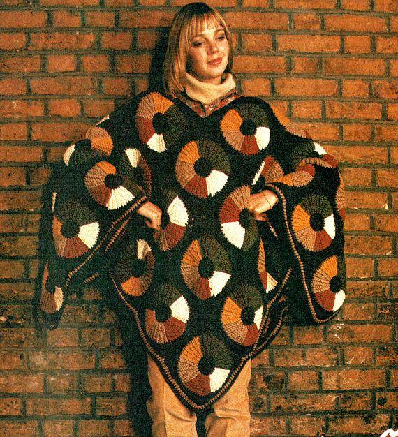 PDF 1970s Womens Ladies Yo-Yo Poncho Crochet Pattern Shawl