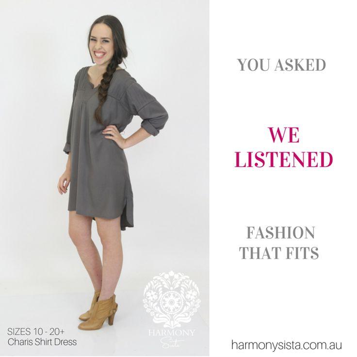 We Listen ....... Fashion that fits real women SiZES 10-20+  Harmony Sista Charis Shirt Dress www.harmonysista....
