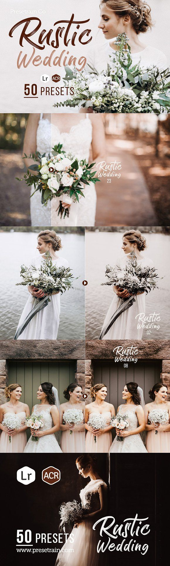 50 Rustic Wedding Adobe Lightroom presets with soft, rosy, vintage style. Perfect for spring and autumn weddings.