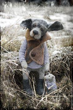 Купить Старый пес и корабельная крыса. - серый, собака, собака из шерсти, собака валяная