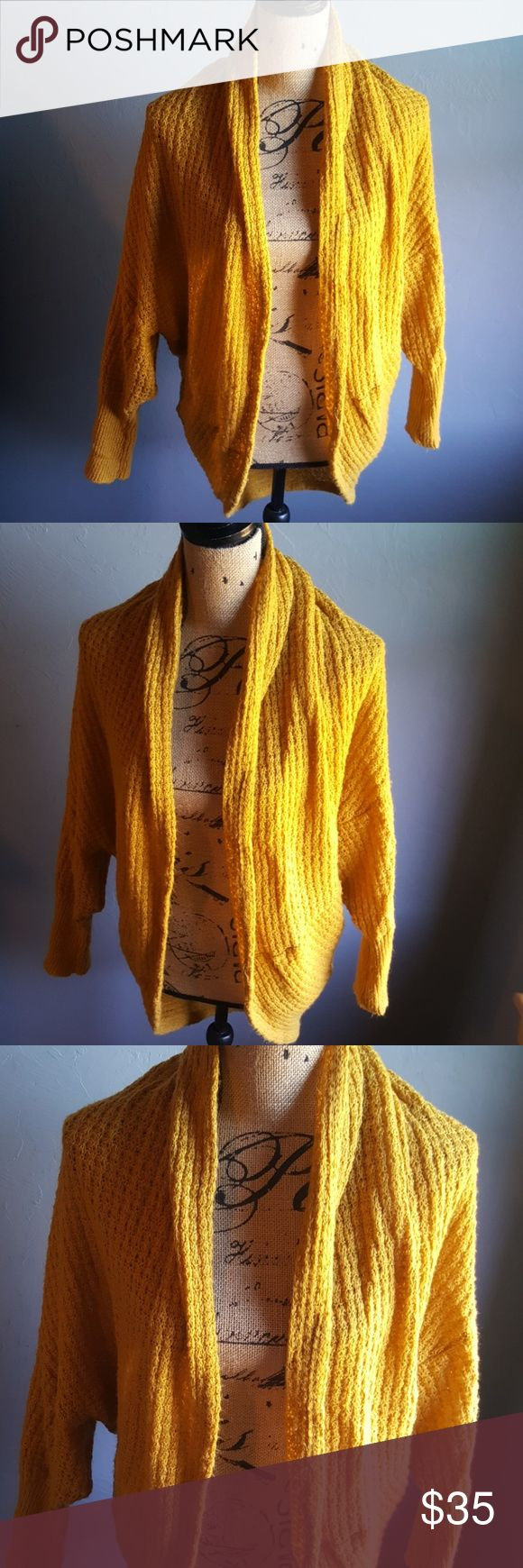 Miss Sixty Open Batwing Cardigan Sweater Very cute In great condition Lightweight Gold color Miss Sixty Sweaters Cardigans