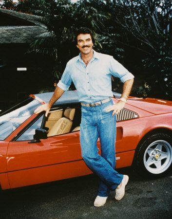 tom selleck with the borrowed ferrari - magnum p.i. (it was always about the car)