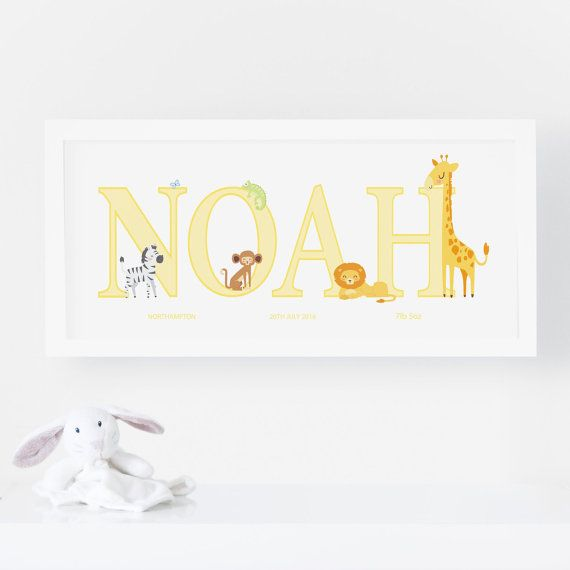 Personslised Name Print - Nursery Print. Designed to order and customised with your babys name, embellished with a selection of animals including Lion, Elephant, Monkey, Hippo, Giraffe, Zebra, Impala, Flamingo, Iguana, and Butterfly. Not all animals will be included in each print but if you have a specific one from the list you would like included then please just include it in the Buyer Notes.  Our Standard Print is printed on a bright white, matt poster paper (230gsm). Our Premium Print is…