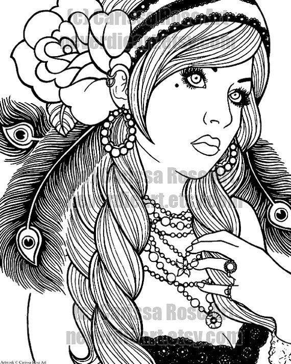 digital download print your own coloring book outline page gypsy girl tattoo flash by carissa - Rose Coloring Pages Teenagers
