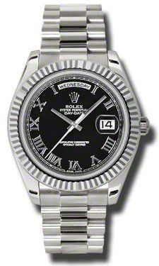cool Rolex Day Date II Automatic Black Dial 18kt White Gold Mens Watch 218239BKRP
