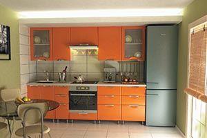 Оранжевая однорядная кухня на ножках Подробнее: http://taburetti.kiev.ua/2016/01/22/oranzhevaya-odnoryadnaya-kuhnya-na-nozhkah/ #мебель #кухня