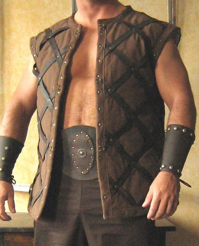 Medieval Celtic Viking Armor Padded Short Gambeson Sleeveless with Leather Straps