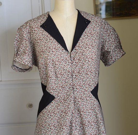 Custom 1940s Style Day Dress from a Vintage Pattern any size xs to XL