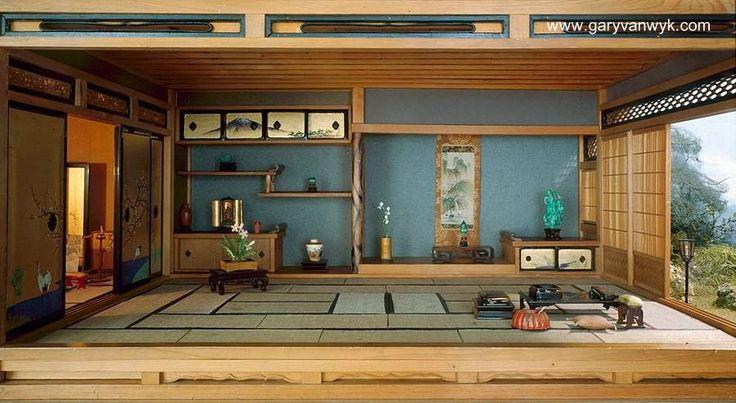 Interior de una casa tradicional japonesa hecha de madera