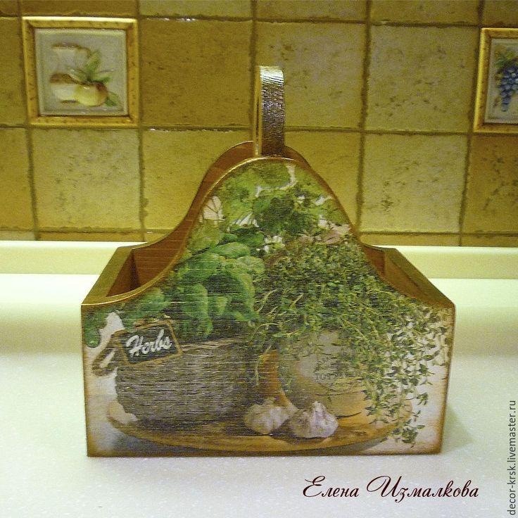 Купить Короб для специй из массива сосны. Декупаж. - коричневый, подставка для специй, для кухни, кухонный интерьер