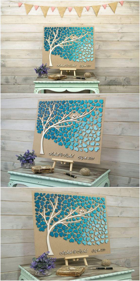 Benutzerdefinierte Farben Hochzeit Gästebuch alternative 3D Baum Holz Herzen rustikale