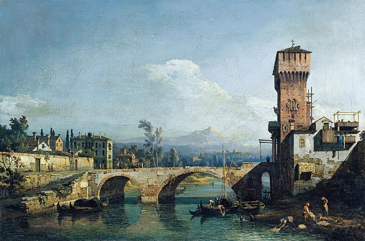 "Bellotto Bernardo - Capricho Con Rio Y Puente c1745 (from <a href=""http://www.oldpainters.org/picture.php?/45289/category/15206""></a>)"