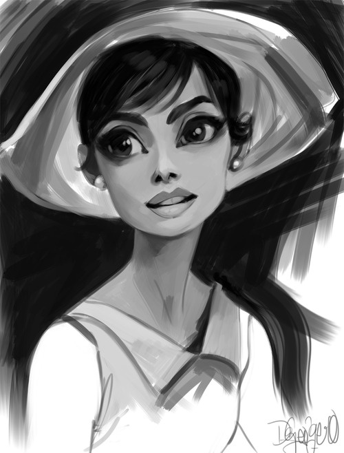 I was also listening to the Paperman soundtrack last night and felt inspired to draw a 50's- esque woman! She's meant to be reminiscent of Audrey Hepburn! I love her! So timeless!