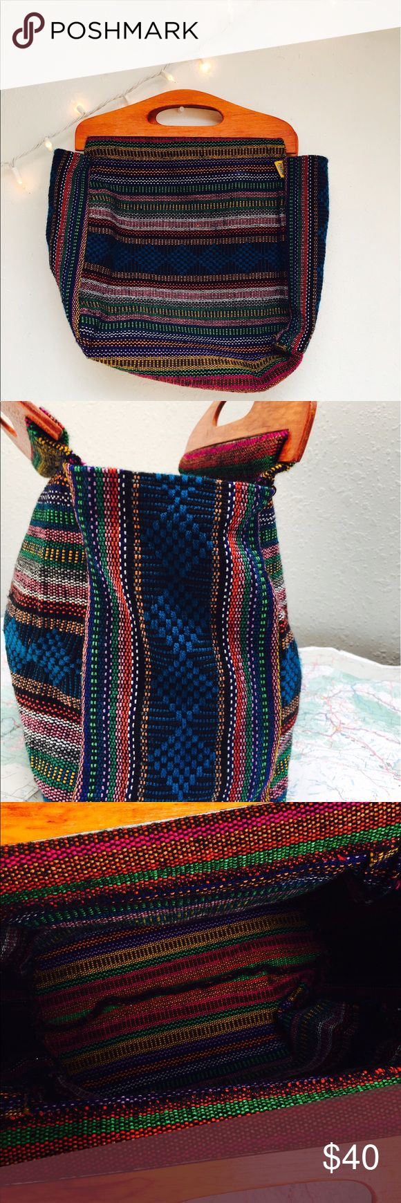 Hand woven colorful bag Colorful large hand woven bag from Mexico. This type of bag requires up to weeks to make in a wooden weaving structure. This was purchased from a women whose full time occupation is making bags like this one in Cuetzalan, Estado de Puebla, Mexico. Bags Totes