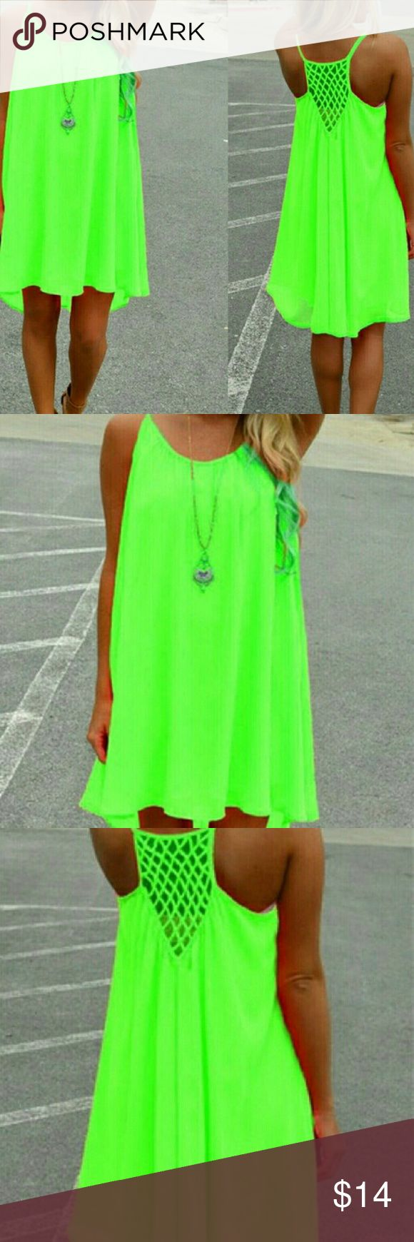 """☇☇SALE☇☇Neon Yellowish Green Summer Dress Great light weight summer dress with spaghetti straps. Dress is knee length. Necklace not included. 3X measurements are 46""""-48"""" and will stretch to 52"""".  Still in the package. NWOT Dresses High Low"""