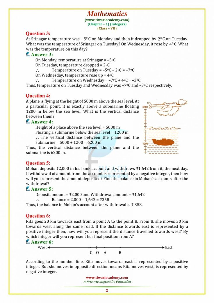 NCERT Solutions for Class 7 Maths Chapter 1 Integers in