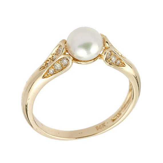 Antique Style Diamonds Pearl Engagement Ring in 14k by NetaJewelry, $740.00