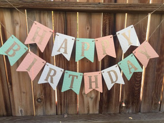 Happy Birthday Banner Birthday Banner Mint by LadybugPartyFun