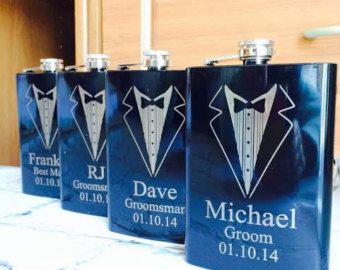 Set of 6 Engraved Flasks Personalized by HangerDesignCenter