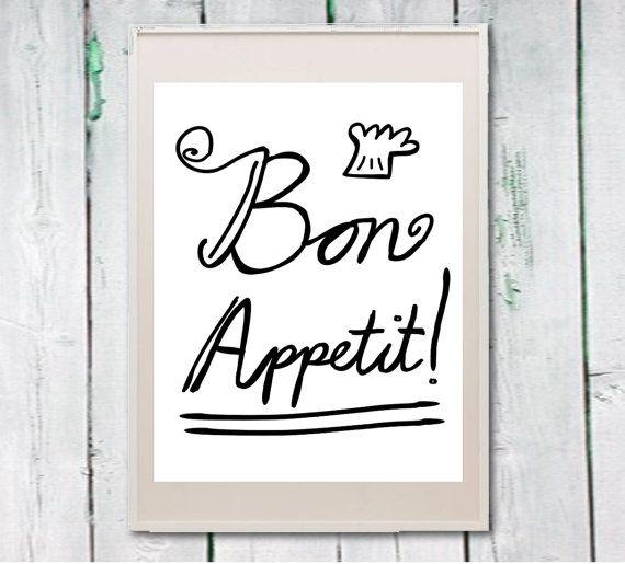 Printable kitchen art french quote bon appetit by Lebonretro, $4.50