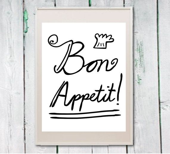 Printable kitchen art french quote bon appetit by Lebonretro, $4.50