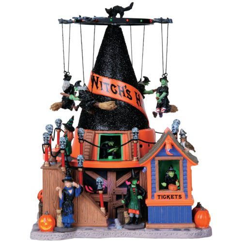 halloween decoration lemax witch hat animated lighted spooky town carnival ride