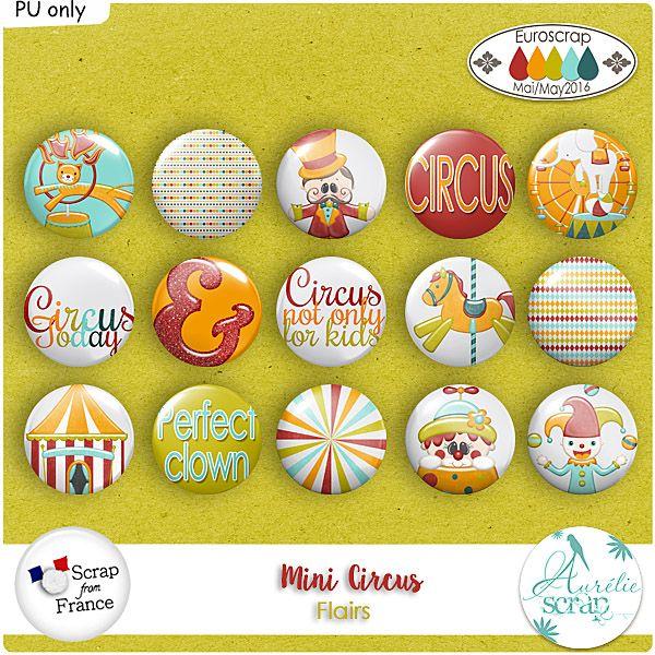 "Flairs ""Mini Circus"" by Aurélie Scrap. Des flairs qui embellieront vos pages... Il contient : 15 flairs"