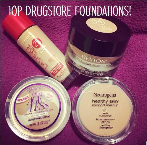 Top Drugstore Foundations. Brands include Rimmel London, Covergirl, Neutrogena, and Revlon!
