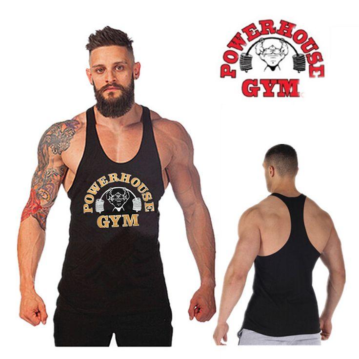 GymShark Fitness Gym Vest,Bodybuilding Stringer Tank Top Mens Cotton Sleeveless Shirts for Muscle Men Workout Sports Tops