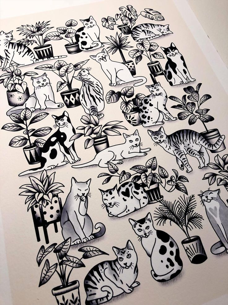 Cats & Houseplants Ink tattoo, Cat tattoo, Cats