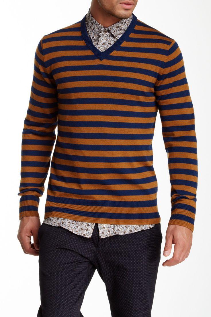 Timothy Merino Wool V-Neck Sweater by Mr Turk