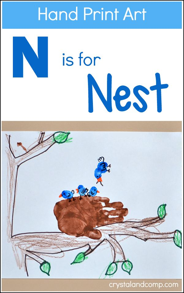 Hand Print Art: N is for Nest Craft for kids