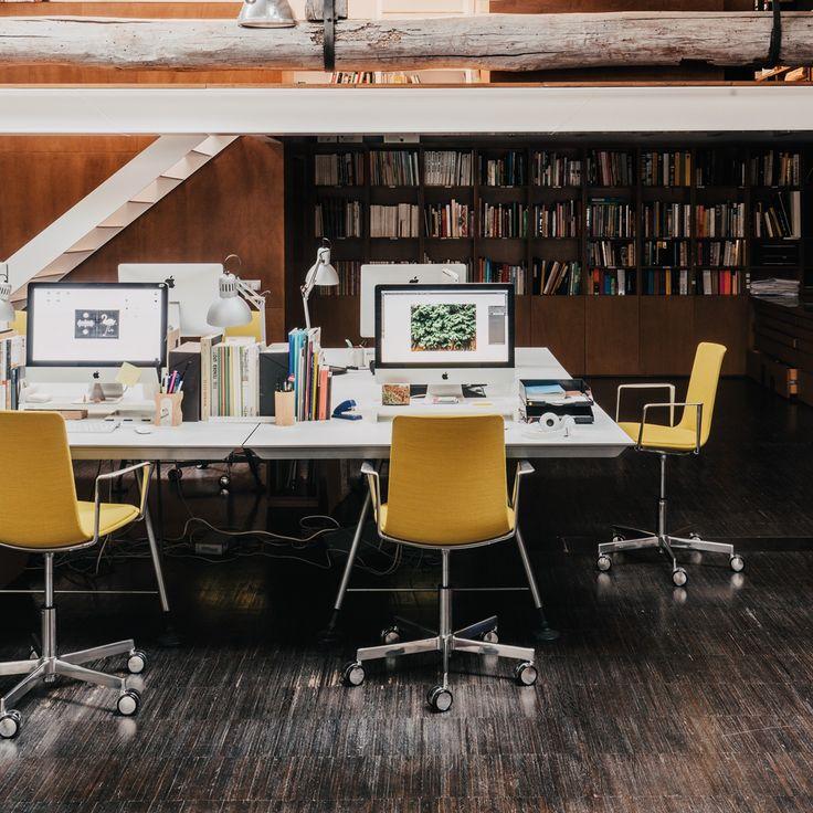 Lottus task chair designed by Lievore Altherr Molina for Enea | Office design, decor, interior design, designer furniture, task, conference, castor, armchair, yellow