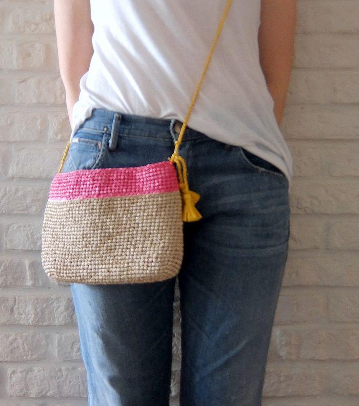 SALE / Summer clutch / Raffia crochet bag / Cross body purse /  Mini shoulder bag / Color block bag / Carry pouch by HatsAndOtherStories on Etsy https://www.etsy.com/listing/230229188/sale-summer-clutch-raffia-crochet-bag