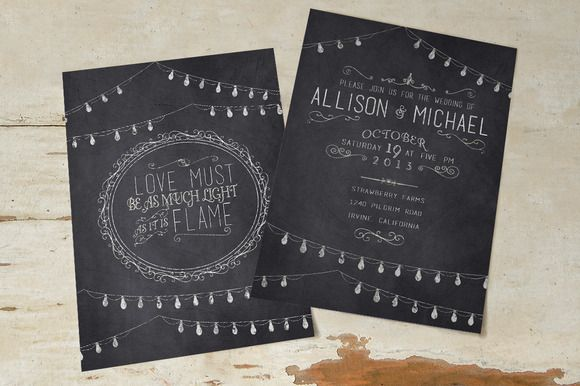 Chalkboard Wedding Invitation Suite @creativework247