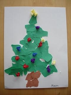 Christmas Trees  tearing activity. Have a triangle template for the tree. They fill the triangle with the torn paper.