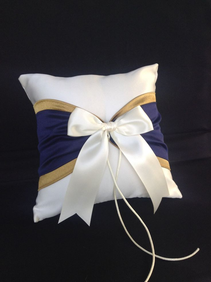 Use coupon code PINITFREESHIP for FREE shipping! Navy Blue and Gold Accent White or Ivory Wedding Ring Bearer Pillow by Jessicasdaydream on Etsy