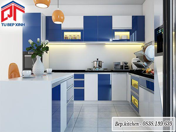 Tủ bếp gỗ Acrylic màu trắng xanh dương chữ L thoáng đẹp KC79C